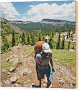A Backpacker Hiking Wood Print