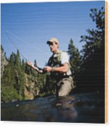 A Fly-fisherman In The Truckee River Wood Print