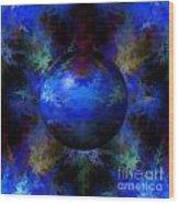 Abstract Blue Globe Wood Print