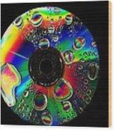Abstract Rainbow Droplets On Cd Wood Print