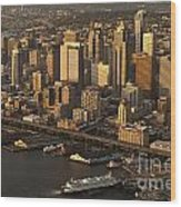 Aerial View Of Seattle Skyline Along Waterfront Wood Print