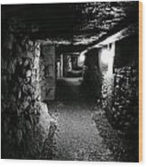 A Tunnel In The Catacombs Of Paris France Wood Print