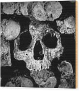 Altered Image Of Skulls And Bones In The Catacombs Of Paris France Wood Print