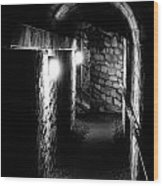 Altered Image Of The Catacomb Tunnels In Paris France Wood Print