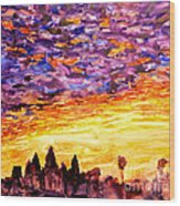 Angkor Sunrise Wood Print