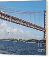 April Bridge In Lisbon Wood Print
