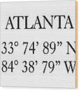 Atlanta Coordinates Wood Print