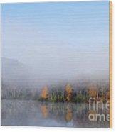 Autumn Mist On Lake Wood Print