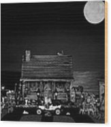 B/w Log Cabin And Outhouse Scene With The Classic Old Vintage 1908 Model T Ford Wood Print