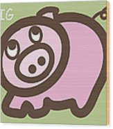 Baby Pig Art For The Nursery Wood Print