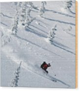 Backcountry Ski Traverse In Glacier Wood Print