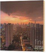 Bangkok City Skyline At Sunset Wood Print