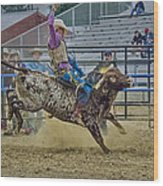 Bareback Bronc Riding Wood Print