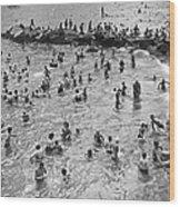 Bathers At Coney Island Wood Print