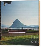 Bench On The Lakefront Wood Print