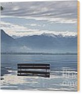 Bench With Trees On A Flooding Alpine Lake Wood Print
