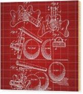 Billiard Bridge Patent 1910 - Red Wood Print