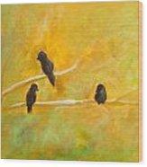 3 Birds Wood Print
