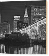 Black And White Cleveland Iconic Scene Wood Print