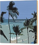 Blue Beach Umbrellas Wood Print
