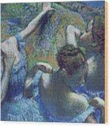 Blue Dancers Wood Print