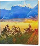 Blue Ridge Parkway Late Summer Appalachian Mountains Sunset West Wood Print