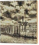 Butlers Wharf London Vintage Wood Print