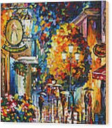 Cafe In The Old City Wood Print
