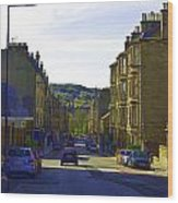 Car In A Queue Waiting For A Signal In Edinburgh Wood Print
