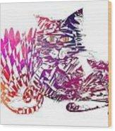 3 Cats Purple Wood Print