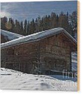 Chalet's Mountain Wood Print