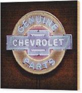 Chevrolet Neon Sign Wood Print