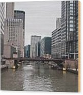 Chicago Skyline And Streets Wood Print