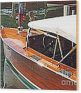 Chris Craft Runabout On Geneva Wood Print
