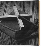 Christian Cross And Rusty Nails Wood Print