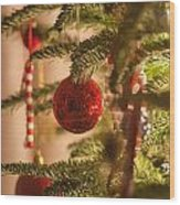 Christmas Tree Ornaments Wood Print