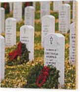 Christmas Wreaths Laid At The Arlington Cemetery Wood Print