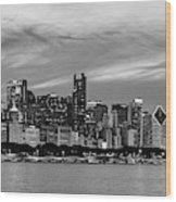 City At The Waterfront, Lake Michigan Wood Print