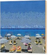 Beach At The City Of Rhodes Wood Print