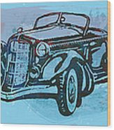 Classical Car Stylized Pop Art Poster Wood Print