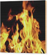 Close-up Of Fire Flames Wood Print