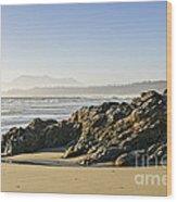 Coast Of Pacific Ocean On Vancouver Island Wood Print
