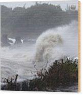 Coastal Wave During Typhoon Usagi Wood Print