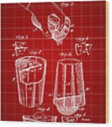 Cocktail Mixer And Strainer Patent 1902 - Red Wood Print