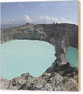 Colourful Crater Lakes Of Kelimutu Wood Print by Richard Roscoe