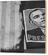 Commercialization Of The President Of The United States Of America In Black And White Wood Print