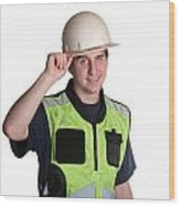Construction Worker In Safety Jacket Wood Print