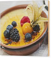 Creme Brulee Dessert Wood Print by Elena Elisseeva