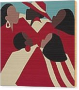 Crimson And Cream Wood Print