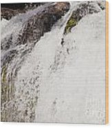 Curtain Of White Water Falling From Rocky Cliff Wood Print